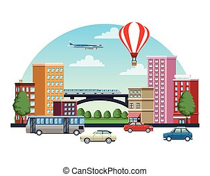 buildings cityscape with means of transport