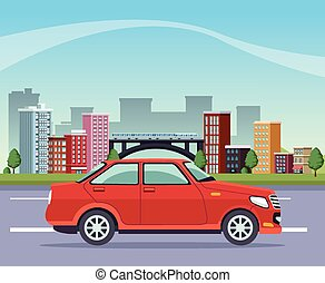 buildings cityscape with road and car