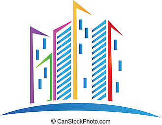 Buildings colorful Real estate logo vector