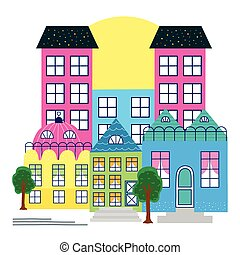 buildings colors city urban scene
