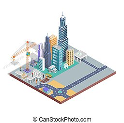 Buildings Construction Poster Vector Illustration