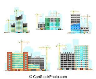 Buildings construction site flat icons