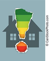 Buildings Energy Performance Scale with house symbol.