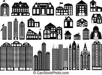 Buildings - Set of black symbols of different buildings