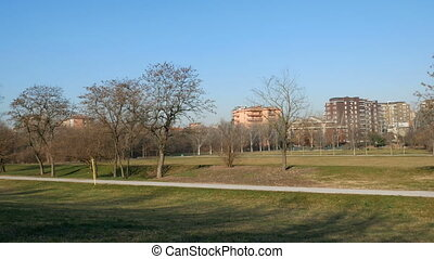 Buildings facing Parco Nord in the north of Milan
