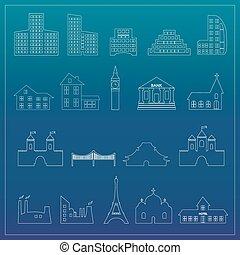 Buildings flat design web icons set