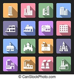 Buildings flat icons set