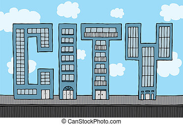 Buildings forming city