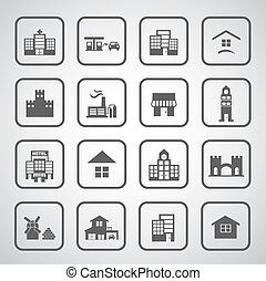 buildings icon on gray background