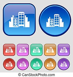 Buildings icon sign. A set of twelve vintage buttons for your design. Vector