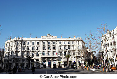 Buildings in Antibes - Buildings with trees infront in...