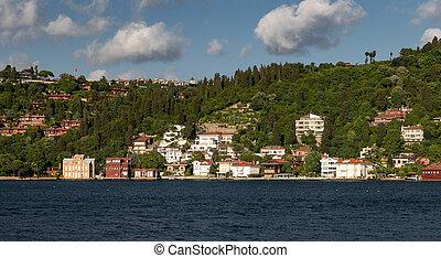 Buildings in Bosphorus Strait Side of Istanbul, Turkey