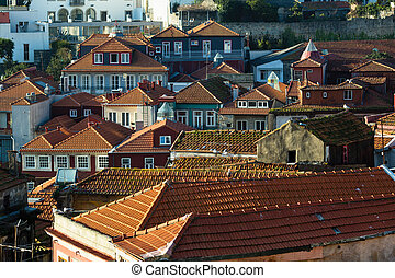 Buildings in center of the city old Porto, Portugal.