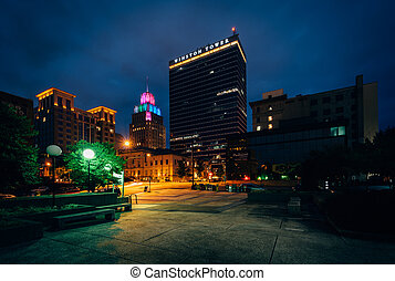 Buildings in downtown at night, in Winston-Salem, North Carolina.