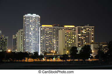 Buildings in Downtown Miami at night, Florida USA