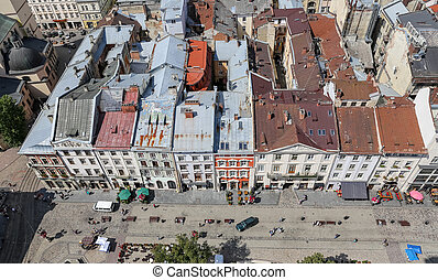 Buildings in Market Square, Lviv, Ukraine