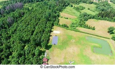 buildings in recreation zone aerial view - buildings in the...