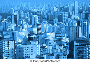 Buildings in Sao Paulo - Arial view of bustling Sao Paulo...