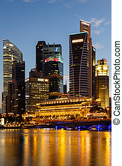 Buildings in Singapore city in night scene background , Singapor