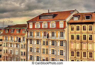 Buildings in the city center of Geneva, Switzerland