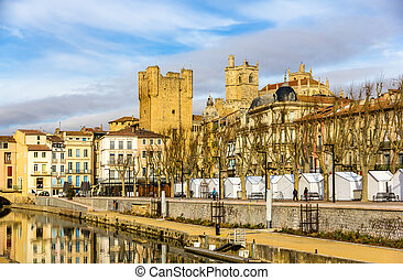Buildings in the city center of Narbonne - France