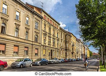 Buildings in the city center of Zagreb, Croatia