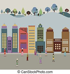 Buildings In The City With Forest Behind Vector Illustration