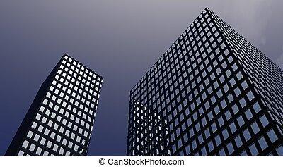 Buildings in the dusk