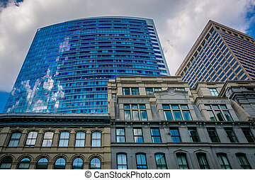 Buildings in the Financial District of Boston, Massachusetts.