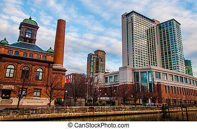 Buildings in the Inner Harbor of Baltimore, Maryland.
