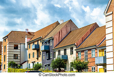 Buildings in the old town of Helsingor - Denmark