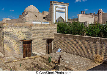 Buildings in the old town of Khiva, Uzbekist