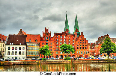 Buildings in the old town of Lubeck - Germany