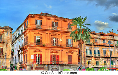 Buildings in the old town of Palermo, Sicily