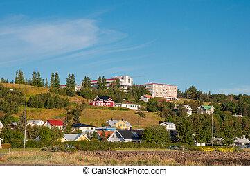 Buildings in town of akureyri in Iceland