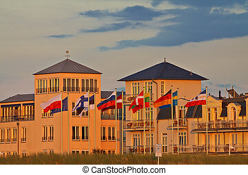 Buildings in Warnemuende (Germany).