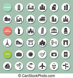 Buildings, landmarks and travel icons