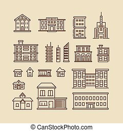 Buildings line thin vector icons