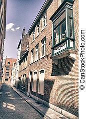 Buildings of Bruges in Belgium