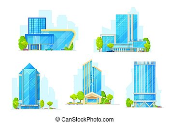 Buildings of hotel, business center. Real estate