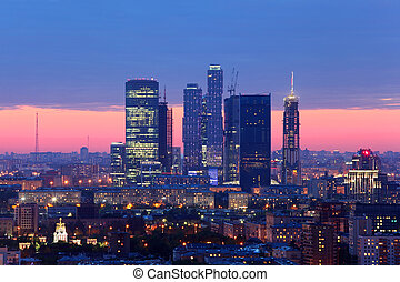 Buildings of Moscow City complex of skyscrapers at evening in Moscow, Russia