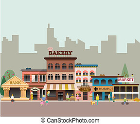 Set of buildings in the style of small business flat design. Architecture of a small town market, salon, pharmacy, bakery, bank, coffee