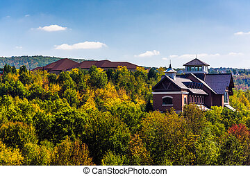 Buildings on a hill near Scranton, Pennsylvania. - Buildings...