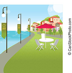 Buildings on a tropical beach - This illustration is a...