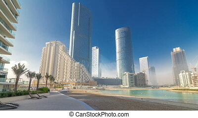 Buildings on Al Reem island in Abu Dhabi timelapse...