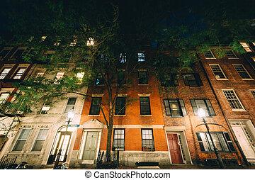 Buildings on Myrtle Street at night, in Beacon Hill, Boston, Massachusetts.