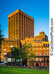 Buildings on Park Street seen from the Common in Boston, Massach