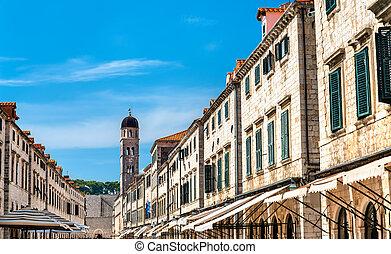 Buildings on Stradun, the main street of Dubrovnik, Croatia
