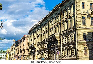 Buildings on the Admiralty Embankment in Saint Petersburg, Russia