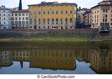 Buildings on the bank of Arno river in Florence, Italy